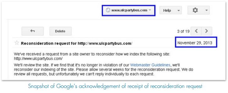 Snapshot of Google's acknowledgement of receipt of reconsideration request