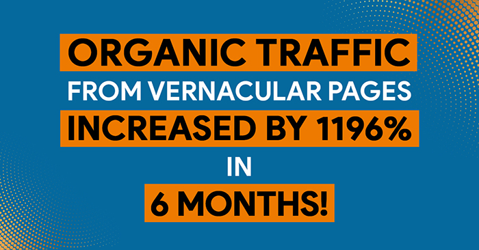 organic traffic from vernacular pages increased by 1196% in 6 months!
